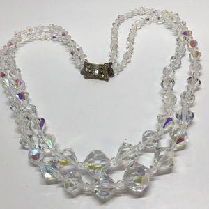 1950s vintage crystal ab double necklace